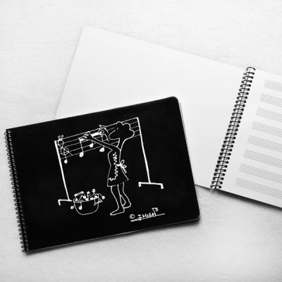 Libreta pautada pequeña figura tendiendo notas