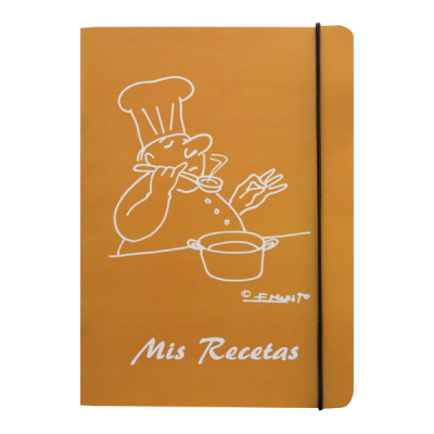 Libreta recetas cocinero color mostaza