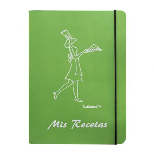 Libreta recetas cocinera color verde
