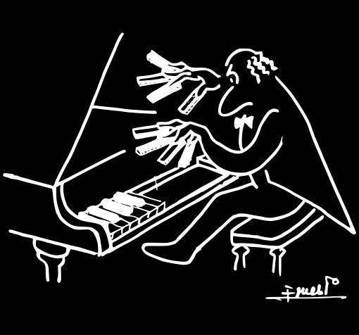 Cubreteclas piano hombre