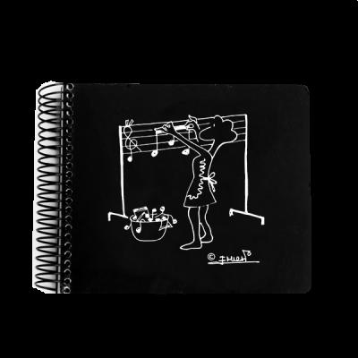 Bloc notas figura tendiendo notas